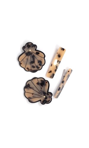MEDIUM HAIR CLIP SET - HORN SHELL