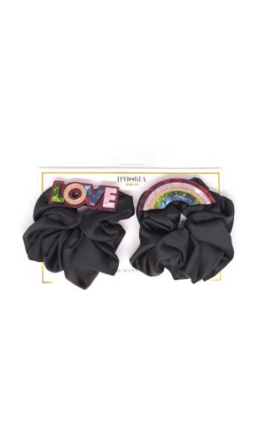 hair scrunchie - rainbow & love