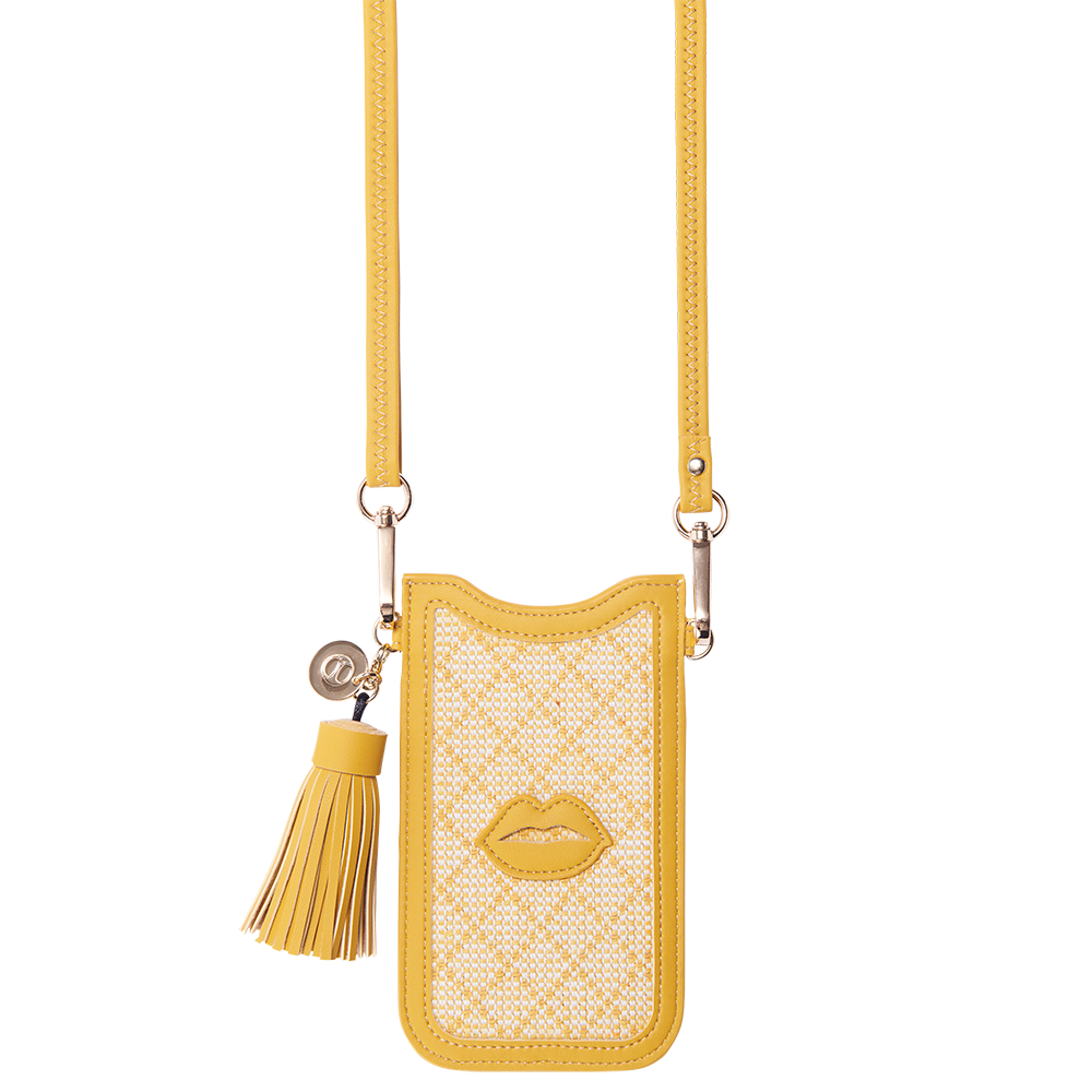 NECKLACE SLEEVE CASE - YELLOW LINEN WITH LIPS