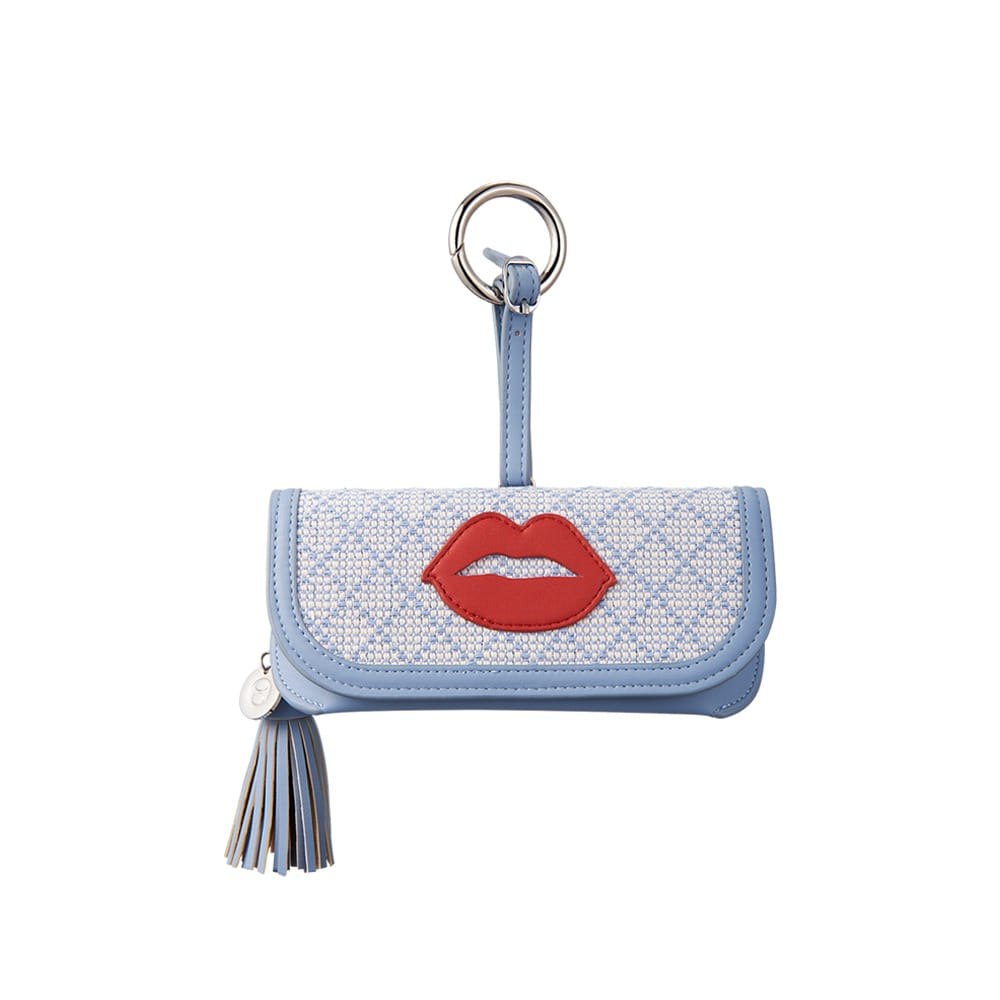 GLASSES CASE - BLUE LINEN WITH RED LIPS
