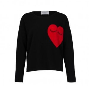 LOOSE JUMPER HEARTS BLACK CASHMERE 100%