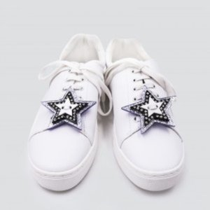 STARS BLACK AND SIVER GLITTER SNEAKER PATCH