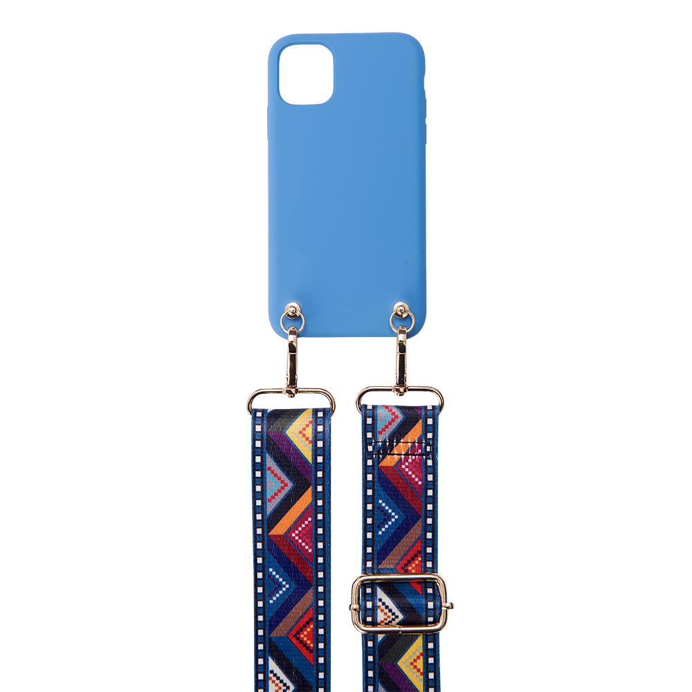 SOFT TOUCH BLUE ETHNO iPhone 11 NECKLACE CASE