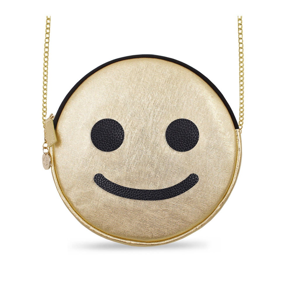 GOLD SMILEY ROUND SHOULDER BAG