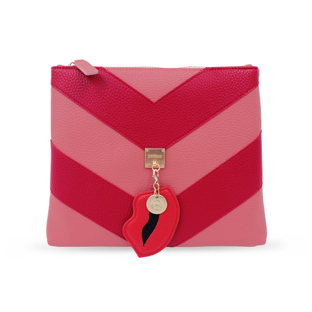 LINING STRIPE RED CLUTCH