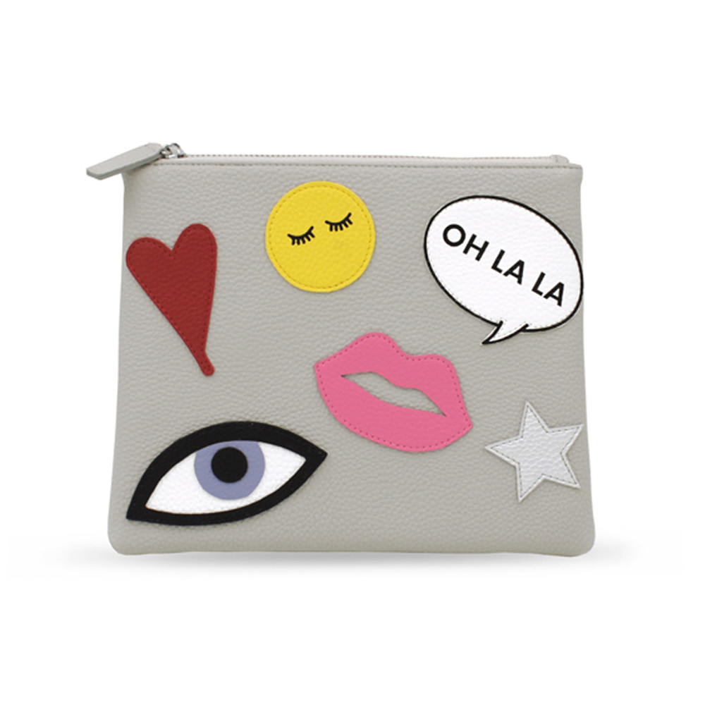 PATCHES GREY CLUTCH