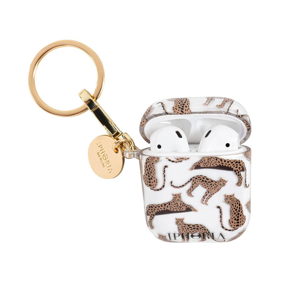 LEOPARD MOSAIC KEY CHAIN AIRPOD CASE